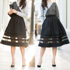 Full midi skirt with illusion details
