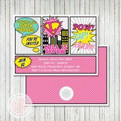 Girl Super Hero Printable Birthday Party or Baby Shower Invite  {Petite Party Studio}