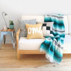 Beautiful Vintage mexican blanket in Teal, mint green, black and white by ROCAILoldandloved