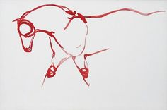 Red Horses by September Vhay Red Horse 63 Oil on Canvas 40 x 60 inches