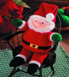 Snuggly Knit Santa Doll