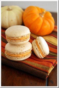 Pumpkin Spice French Macarons via FoodieMisadventures.com