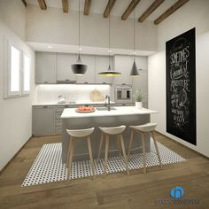 best Ideas for kitchen white modern beams Kitchen Dinning, New Kitchen, Kitchen Decor, Kitchen White, Kitchen Cabinetry, Kitchen Flooring, Grey Kitchen Inspiration, Light Wood Kitchens, Kitchen Queen
