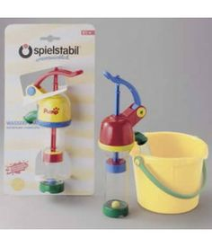Water Pump - An intriguing activity for the beach or bathtub. This pump pulls water up from the bottom and drains it out the spout. The clear plastic tube shows the mechanical action. (bucket not included) PVC Free. $16.49