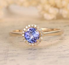 Round Tanzanite Engagement Ring Pave Diamond Wedding 14K Yellow Gold 6.5mm - Lord of Gem Rings - 1