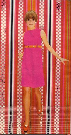 A dress that owes a lot to Mary Quant 60s fashion women go go mod pink high waist sleeveless knee length belt