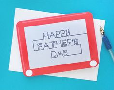 Etch a Sketch Printable Card for Father's Day. #freeprintables #fathersdayDIY #fathersdayprintables Click Here to Download Card PDF http://zakkalife.com/printable-fathers-day-card/