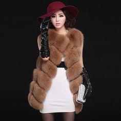 brown fox fur vest