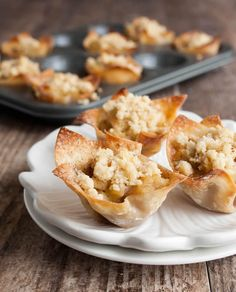 Skinny Apple Pie Wontons recipe:  Have your apple pie and keep it light, too.| The Merchant Baker