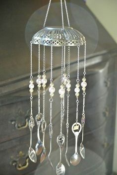 Silver spoon wind chimes