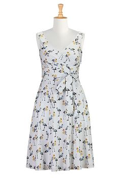 Flamingo print cotton poplin dress from eShakti $80 before customization and shipping. Good for wearing to hawaiin shirt events.