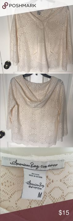 American Rag Lace Up Hoodie NWOT. Super cute to wear as a swimsuit coverup or just as a shirt. It is lace, so it's see through. American Rag Tops