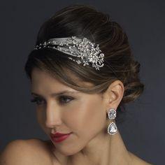 Antique Silver Crystal Feather Bridal Headpiece Headpiece