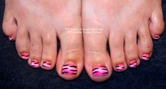 CND Shellac summer toes in Cake Pop and Pink Pigments with Tiger stripes!  #animal #salcombe #nailart #cndshellac
