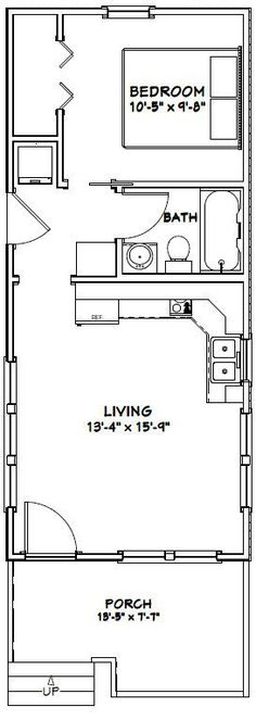 14x32 Tiny House -- #14X32H1T -- 447 sq ft - Excellent Floor Plans