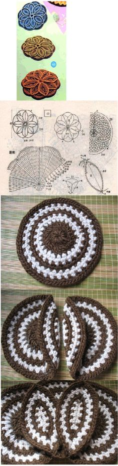8 crochet circles for a great hot pad! - thick and colorful! ☆•★Teresa Restegui http://www.pinterest.com/teretegui/★•☆