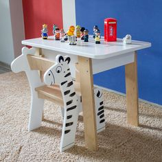 Kids Plywood Desk Table and Chair Set Modern Kids Furniture