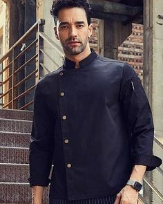Black Professional Chef, Chef Jackets, Unisex, Suits, Coat, Long Sleeve, Sleeves, Clothes, Collection