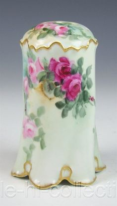 GERMANY HAND PAINTED ROSES MUFFINEER SUGAR SHAKER ARTIST SIGNED