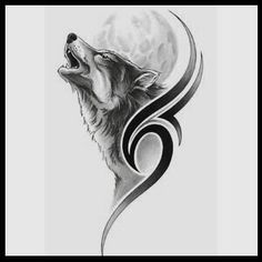 Tribal with howling wolf and moon tattoo.