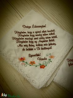 Szülőköszöntő keszkenő (Himzofalva) - Meska.hu Wedding Guest Book, Diy Wedding, Wedding Gifts, Letter, Wedding Inspiration, Bridal, Party, Wedding Day Gifts, Wedding Favors