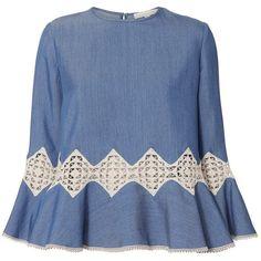 Jonathan Simkhai Women's Lace Inset Chambray Top ($475) ❤ liked on Polyvore featuring tops, blue, ruffle hem top, lace insert top, chambray top, blue top and jonathan simkhai