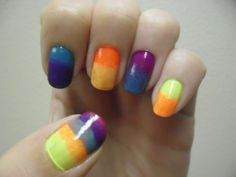 Bold and bright gradient. This nail design really popped in the summer sun!