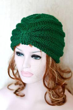 Verde botella turbante hecho punto sombrero grueso sombrero