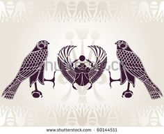 Illustration of Egyptian Horus and Scarab stencil vector art, clipart and stock vectors. Scarab Tattoo, Horus Tattoo, Hawk Tattoo, Beetle Tattoo, Egyptian Symbols, Egyptian Art, Egyptian Things, Egypt Tattoo, Clip Art