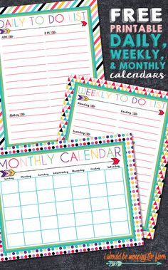 Free Printable Daily, Weekly, and Monthly Calendars