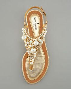 kate spade new york imani bead & crystal thong sandal - Neiman Marcus