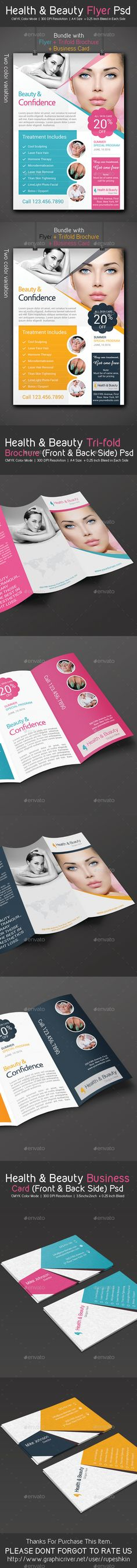 Health & Beauty Flyer - Trifold Brochure - Business Card Pack  —  PSD…