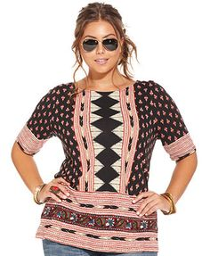 Lucky Brand Plus Size Short-Sleeve Printed Top #UNIQUE_WOMENS_FASHION