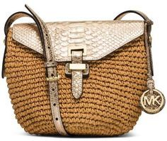 Michael Kors Naomi Medium Woven Straw Crossbody