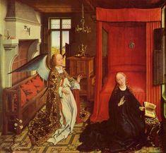 Van der Weyden - Verkündigung (Erzengel Gabriel); 15.Jhdt.; Maria in moderner Mode gekleidet; Schauplatz nicht in Narzareth sondern in Niederlande = Betrachter kann sich besser einfühlen; genaue Details (Falten, Stickerei) = Authenzität um dem göttlichen ganz nahe zu sein