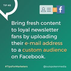 Facebook Marketers: use Custom Audiences to target loyal e-mail fans with your… Marketing Tools, Digital Marketing, Target, Fans, Social Media, Content, Facebook, Followers, Social Networks