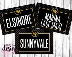 Honey & Lace Clothing Name Cards Honey and Lace Style Card 4x6, online facebook album covers social media signs, marketing and branding for honey & lace reps, black yellow bee honeycomb polka dot design