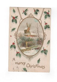 A Merry Christmas. antique postcard embossed with gold accents. Collectible ephemera card scrapbook embellishments collage. by PickleladyPapers on Etsy