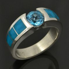 Turquoise Engagement Ring or Wedding Ring with Blue Topaz in Sterling Silver
