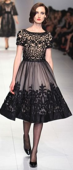 Black tulle and lace dress