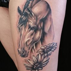 Awesome horse portrait tattoo, pretty work from @cory_lee_james