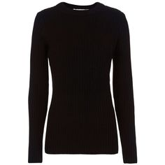 Rag & Bone Women's /JEAN Carly Pullover ($250) ❤ liked on Polyvore featuring tops, sweaters, black, crew sweater, wool tops, long sleeve sweater, long sleeve crew neck sweater and crew neck sweaters