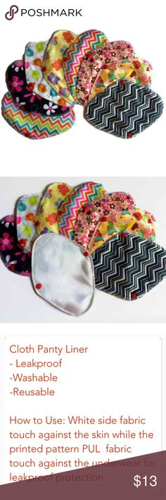 New-Cloth Panty Liner w/ Wings - Set of 8 pcs NEW-Handmade Set of 8 pcs Reusable cloth panty liner. Made from 1 layer of printed PUL fabric & 3 layers white cotton flannel. Very soft, light & thin. This is perfect for everyday liner. Measure 8 1/2 long. This Liner is very comfortable to use and you won't even notice that, you are wearing them. This is Washable & Reusable. Cloth pads are so much more comfortable than disposables and it saves you money over time. These are also really great if…