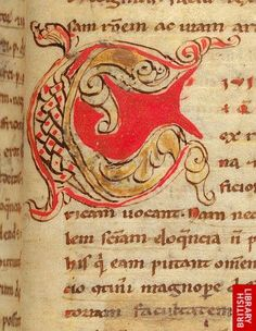 Detail of the decorated initial 'C'(ivilis) at the beginning of chapter 6 of book 1 of Cicero's De inventione.   Origin:France, S.