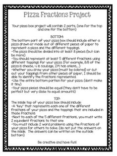 This is the direction sheet I used for our Pizza box fractions project. These projects were made in actually pizza boxes donated by a local pizza shop:) . Pizza Fractions, 4th Grade Fractions, Fourth Grade Math, Second Grade Math, Equivalent Fractions, Multiplication, Life Skills Classroom, Math Classroom, Future Classroom
