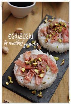 Oshizushi de roastbeef y pistachos {by Paula, Con las Zarpas en la Masa}