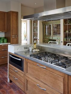 Cooktop With 2 Level Island Design Ideas, Pictures, Remodel, and Decor Kitchen Island With Cooktop, Island Cooktop, Kitchen Stools, Island Microwave, Microwave Drawer, Island Bar, Kitchen Counters, Kitchen Islands, Rustic Kitchen