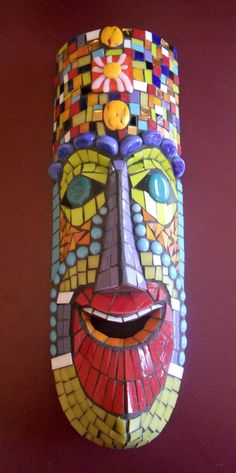 mosaic AFRICAN MASK | recycled african mask wood mask stained glass glass gems and
