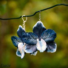 Modrá orchidea - náušnice