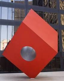 Red Cube Sculpture Isamu Noguchi
